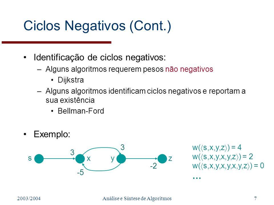 2003/2004Análise e Síntese de Algoritmos7 Ciclos Negativos (Cont.) Identificação de ciclos negativos: –Alguns algoritmos requerem pesos não negativos Dijkstra –Alguns algoritmos identificam ciclos negativos e reportam a sua existência Bellman-Ford Exemplo: 3 3 -5 -2 s zxy w( s,x,y,z ) = 4 w( s,x,y,x,y,z ) = 2 w( s,x,y,x,y,x,y,z ) = 0 …