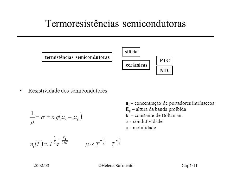 2002/03©Helena SarmentoCap1-11 Resistividade dos semicondutores Termoresistências semicondutoras termistências semicondutoras silício cerâmicas PTC NTC n i – concentração de portadores intrínsecos E g – altura da banda proibida k – constante de Boltzman - condutividade - mobilidade