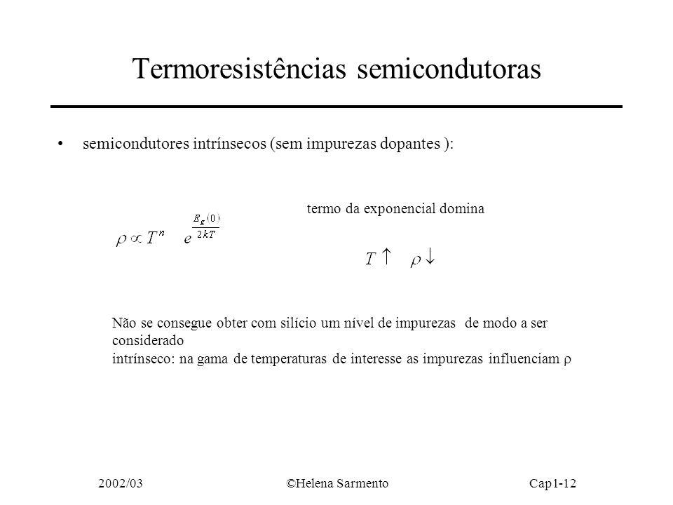 2002/03©Helena SarmentoCap1-12 Termoresistências semicondutoras semicondutores intrínsecos (sem impurezas dopantes ): termo da exponencial domina Não se consegue obter com silício um nível de impurezas de modo a ser considerado intrínseco: na gama de temperaturas de interesse as impurezas influenciam