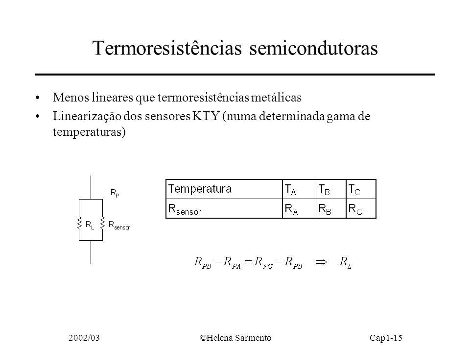 2002/03©Helena SarmentoCap1-15 Termoresistências semicondutoras Menos lineares que termoresistências metálicas Linearização dos sensores KTY (numa determinada gama de temperaturas)
