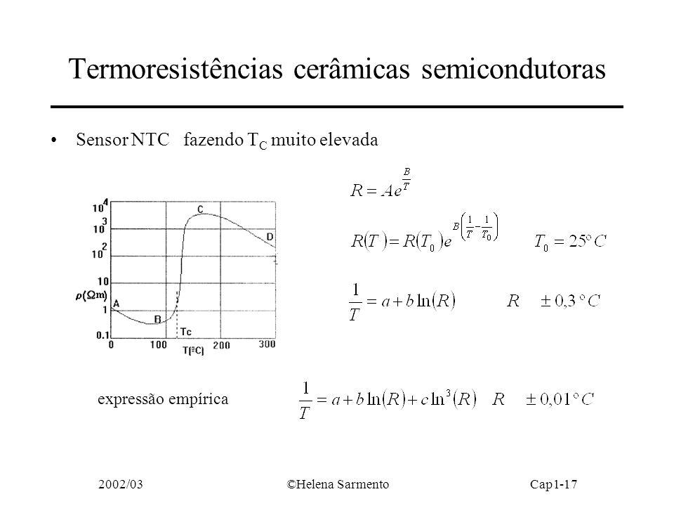 2002/03©Helena SarmentoCap1-17 Termoresistências cerâmicas semicondutoras Sensor NTC fazendo T C muito elevada expressão empírica
