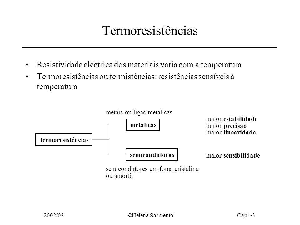 2002/03©Helena SarmentoCap1-3 Termoresistências termoresistências metálicas semicondutoras metais ou ligas metálicas semicondutores em foma cristalina ou amorfa maior estabilidade maior precisão maior linearidade maior sensibilidade Resistividade eléctrica dos materiais varia com a temperatura Termoresistências ou termistências: resistências sensíveis à temperatura