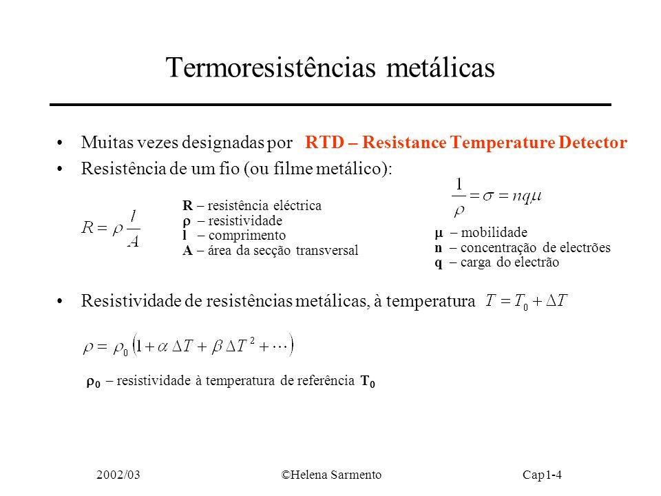 2002/03©Helena SarmentoCap1-5 Termoresistências metálicas e sensibilidades semi-relativas da resistividade em relação à temperatura ou coeficientes de temperatura de 1ª e 2ª ordem boa sensibilidade boa linearidade elevado reduzido sensibilidade semi-relativa ou coeficiente de temperatura da resistência