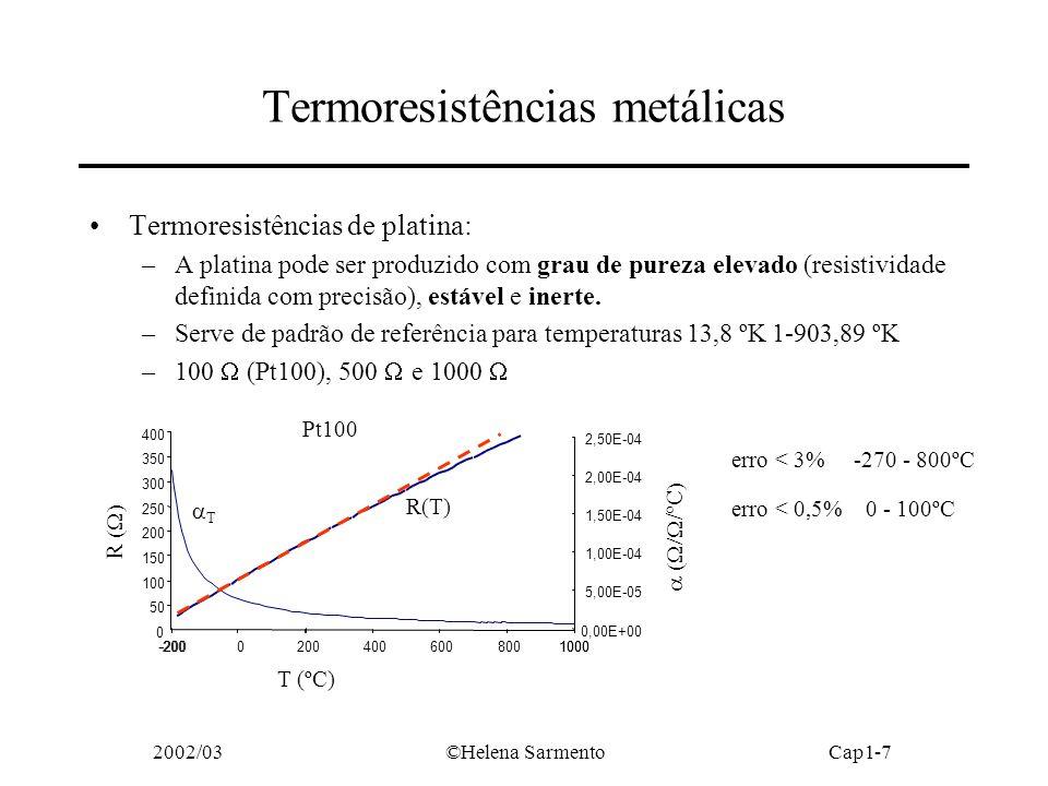 2002/03©Helena SarmentoCap1-7 Termoresistências metálicas Termoresistências de platina: –A platina pode ser produzido com grau de pureza elevado (resistividade definida com precisão), estável e inerte.