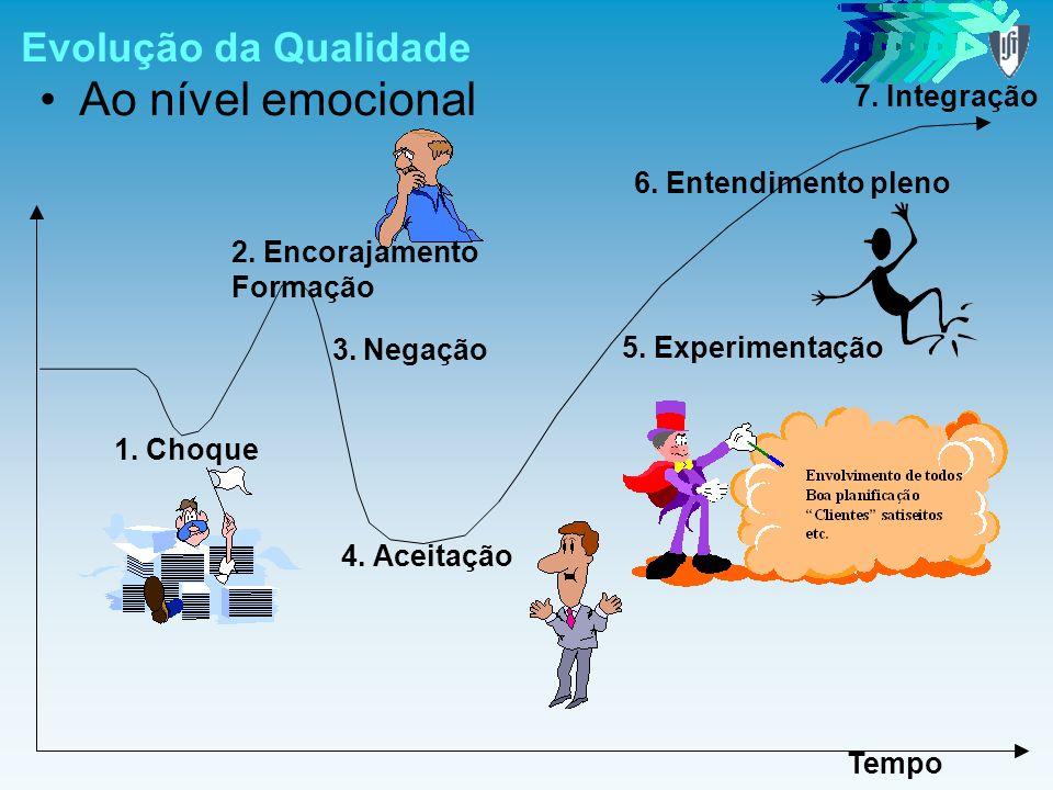 Evolução da Qualidade Ao nível emocional Tempo 1. Choque 2. Encorajamento Formação 3.Negação 4. Aceitação 5. Experimentação 6. Entendimento pleno 7. I