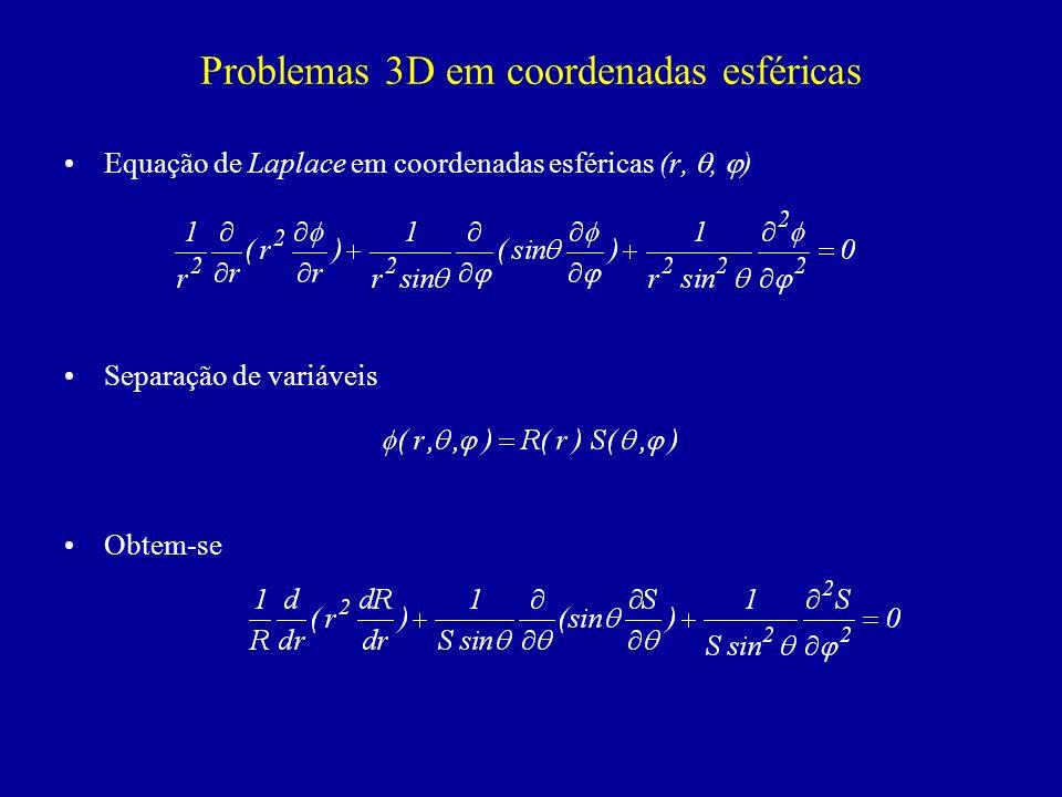 Problemas 3D em coordenadas esféricas Equação de Laplace em coordenadas esféricas (r,, ) Separação de variáveis Obtem-se