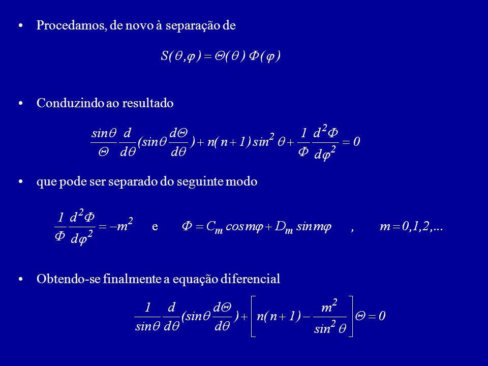 Procedamos, de novo à separação de Conduzindo ao resultado que pode ser separado do seguinte modo Obtendo-se finalmente a equação diferencial