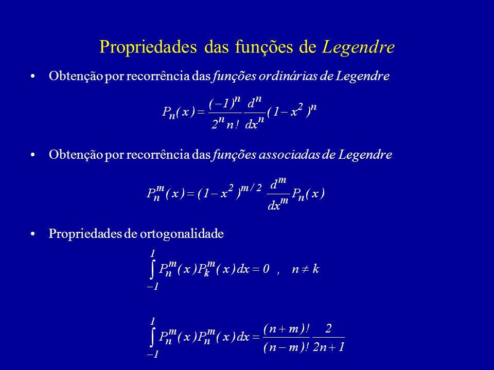 Propriedades das funções de Legendre Obtenção por recorrência das funções ordinárias de Legendre Obtenção por recorrência das funções associadas de Legendre Propriedades de ortogonalidade