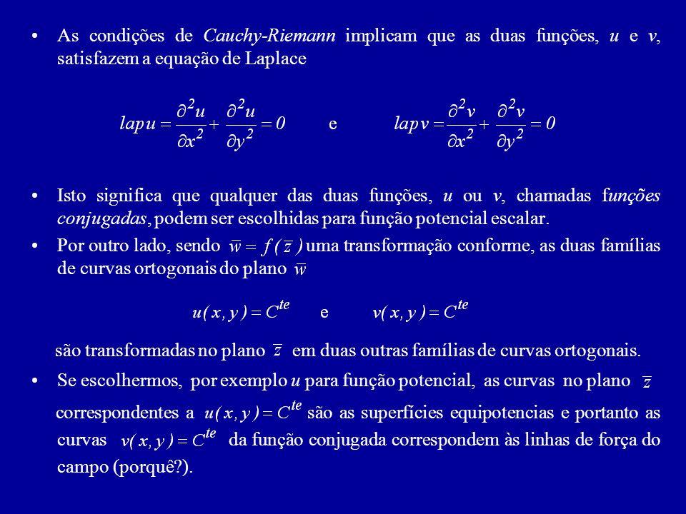 As condições de Cauchy-Riemann implicam que as duas funções, u e v, satisfazem a equação de Laplace Isto significa que qualquer das duas funções, u ou v, chamadas funções conjugadas, podem ser escolhidas para função potencial escalar.