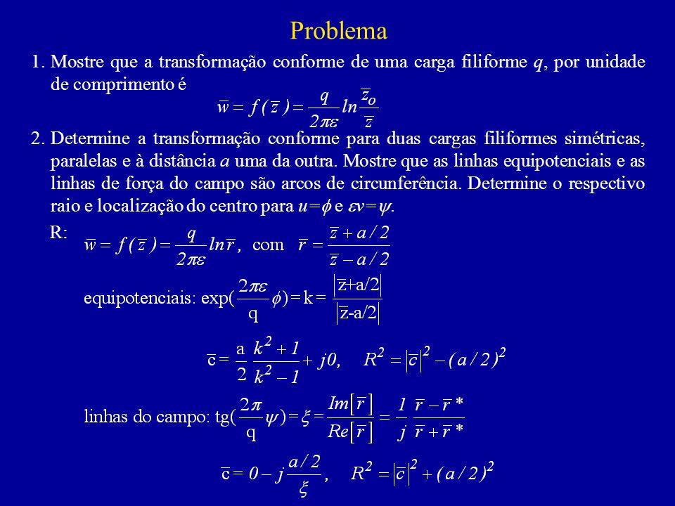 Problema 1.Mostre que a transformação conforme de uma carga filiforme q, por unidade de comprimento é 2.Determine a transformação conforme para duas cargas filiformes simétricas, paralelas e à distância a uma da outra.