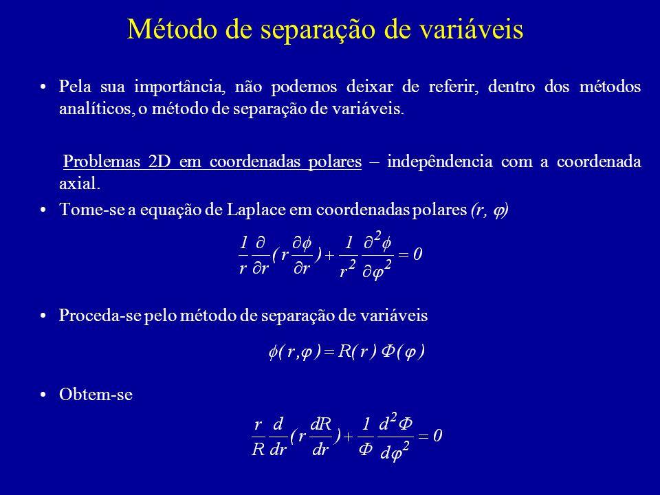 Método de separação de variáveis Pela sua importância, não podemos deixar de referir, dentro dos métodos analíticos, o método de separação de variáveis.