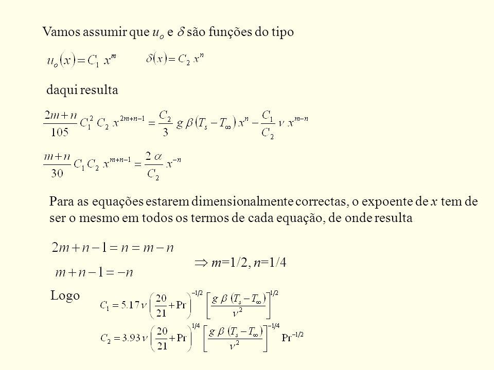 Vamos assumir que u o e são funções do tipo daqui resulta Para as equações estarem dimensionalmente correctas, o expoente de x tem de ser o mesmo em t