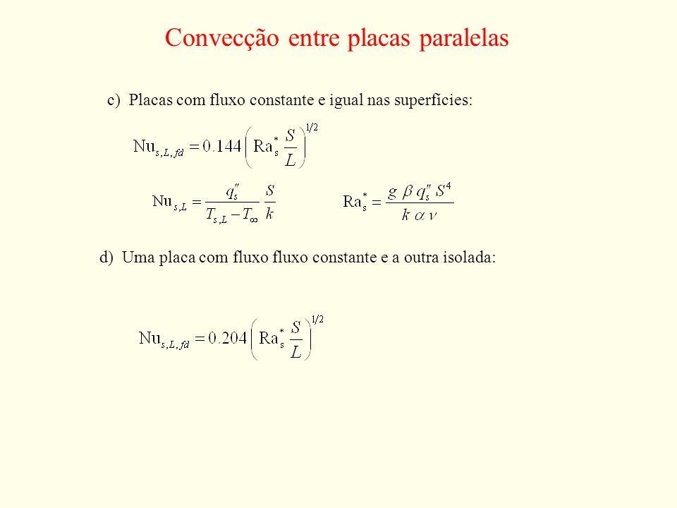 Convecção entre placas paralelas c) Placas com fluxo constante e igual nas superfícies: d) Uma placa com fluxo fluxo constante e a outra isolada:
