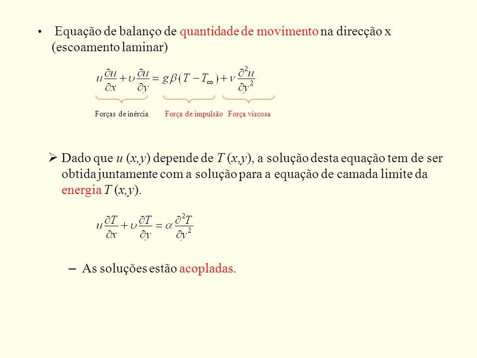 Forças de inérciaForça de impulsãoForça viscosa Dado que u (x,y) depende de T (x,y), a solução desta equação tem de ser obtida juntamente com a soluçã