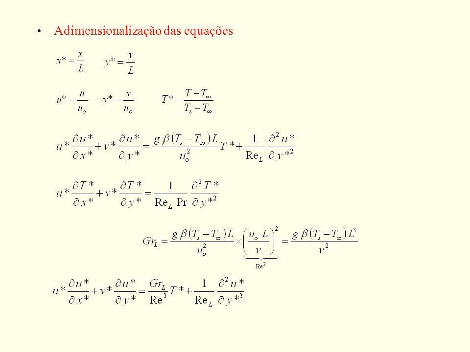 Adimensionalização das equações