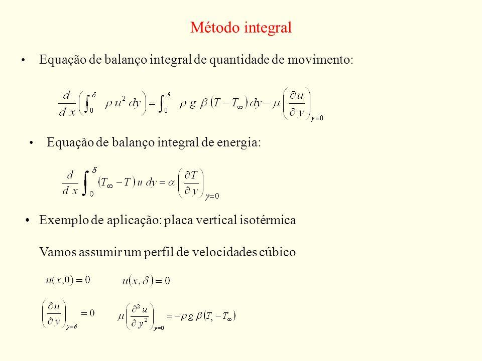 Método integral Equação de balanço integral de quantidade de movimento: Equação de balanço integral de energia: Exemplo de aplicação: placa vertical i