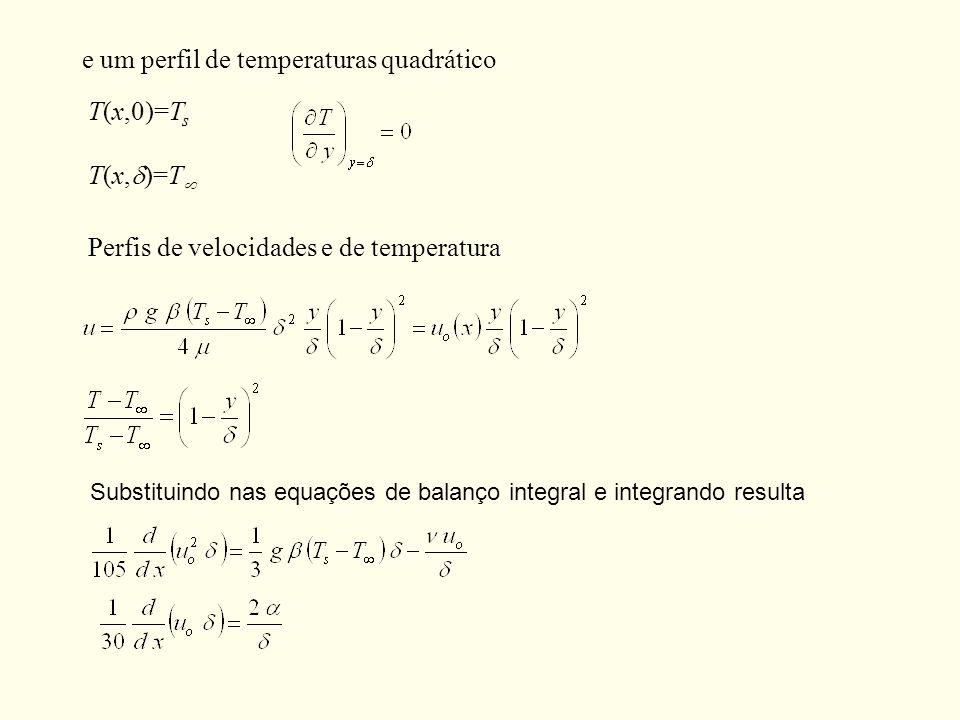 e um perfil de temperaturas quadrático T(x,0)=T s T(x, )=T Perfis de velocidades e de temperatura Substituindo nas equações de balanço integral e inte