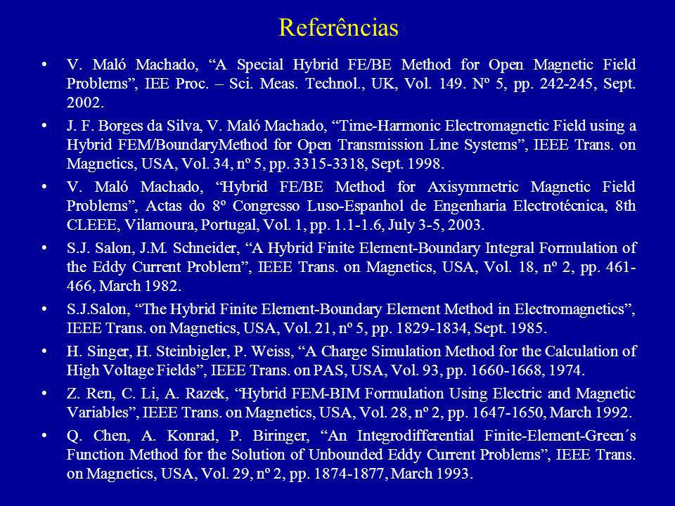 Referências V. Maló Machado, A Special Hybrid FE/BE Method for Open Magnetic Field Problems, IEE Proc. – Sci. Meas. Technol., UK, Vol. 149. Nº 5, pp.