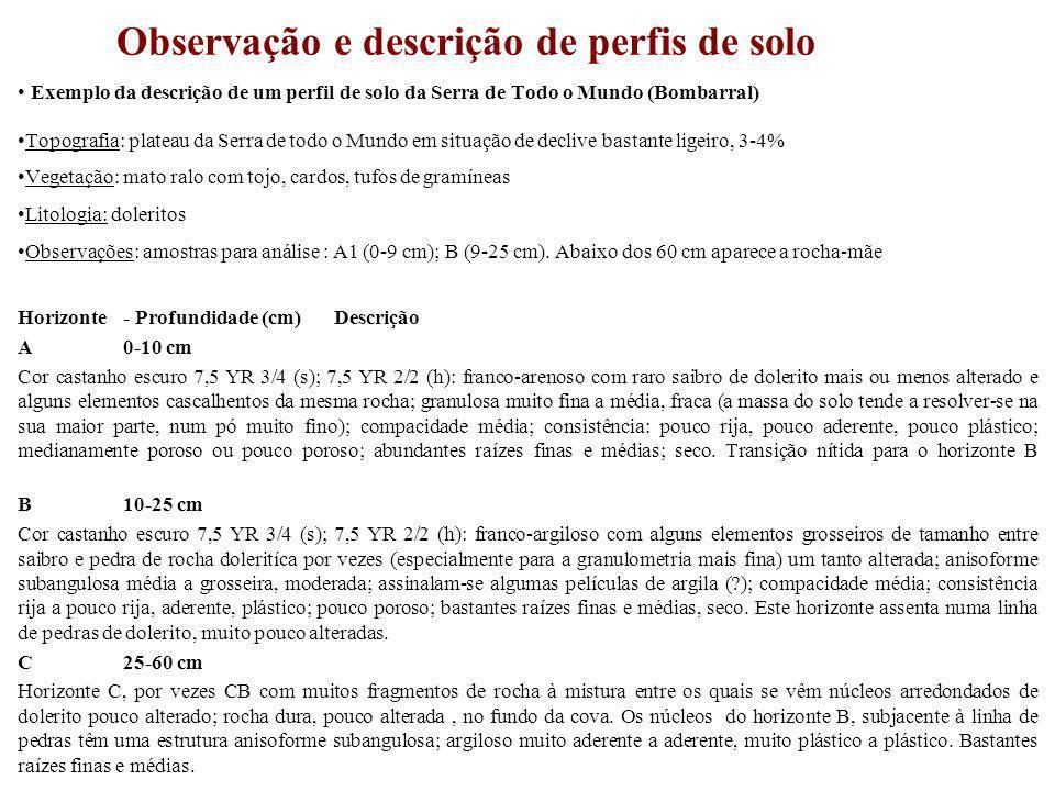 Observação e descrição de perfis de solo Exemplo da descrição de um perfil de solo da Serra de Todo o Mundo (Bombarral) Topografia: plateau da Serra d