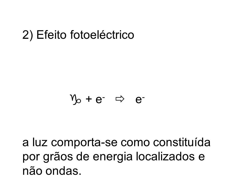 2) Efeito fotoeléctrico + e - e - a luz comporta-se como constituída por grãos de energia localizados e não ondas.