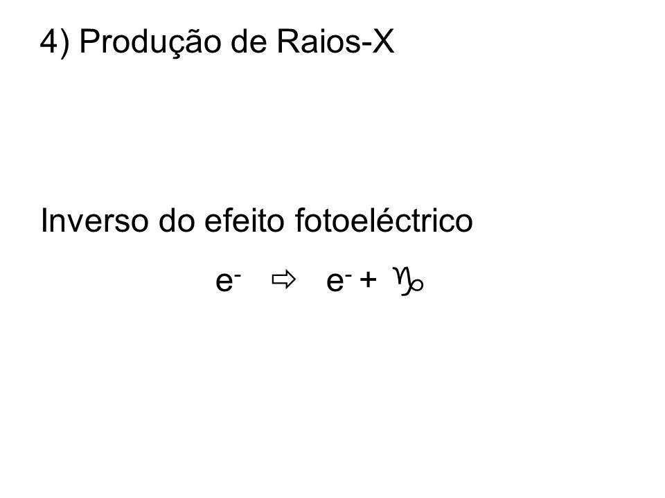 4) Produção de Raios-X Inverso do efeito fotoeléctrico e - e - +