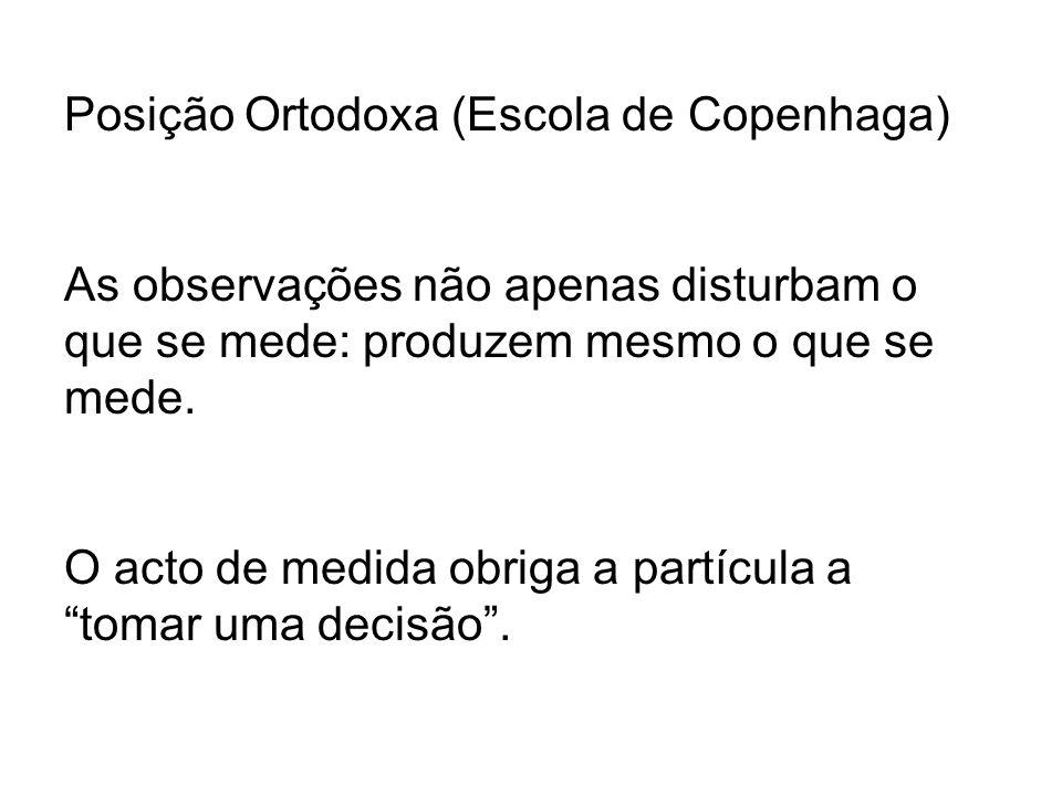 Posição Ortodoxa (Escola de Copenhaga) As observações não apenas disturbam o que se mede: produzem mesmo o que se mede.
