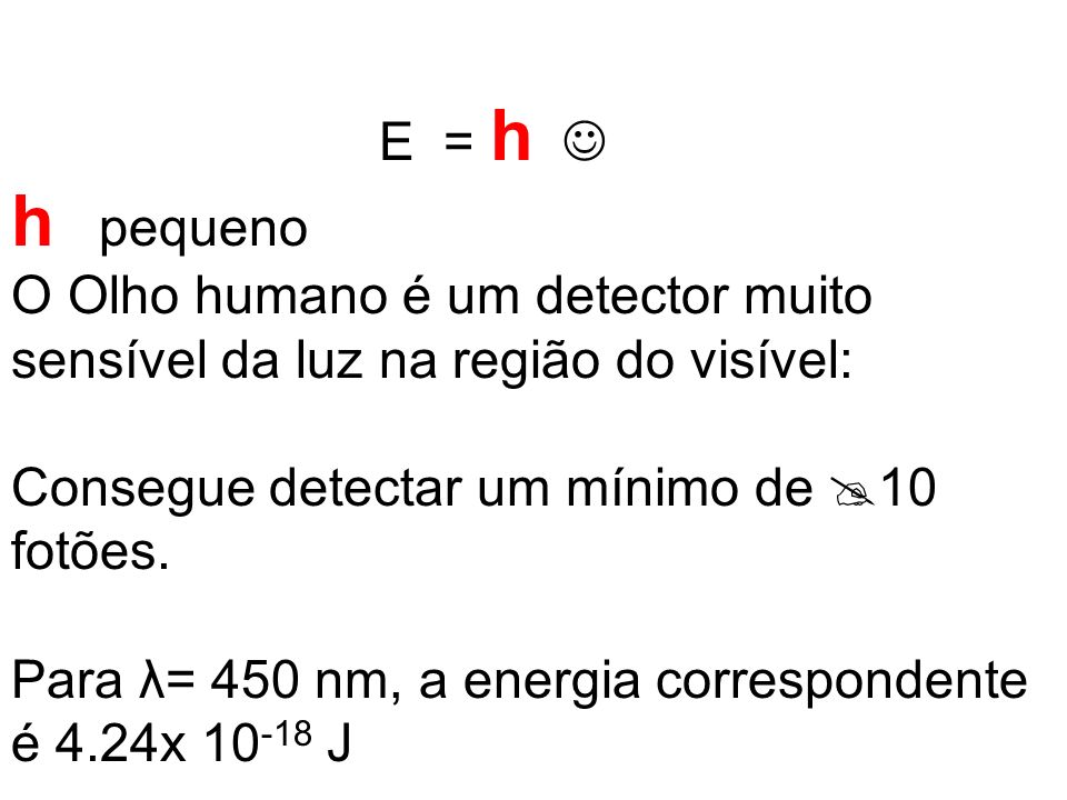 E = h h pequeno O Olho humano é um detector muito sensível da luz na região do visível: Consegue detectar um mínimo de 10 fotões.