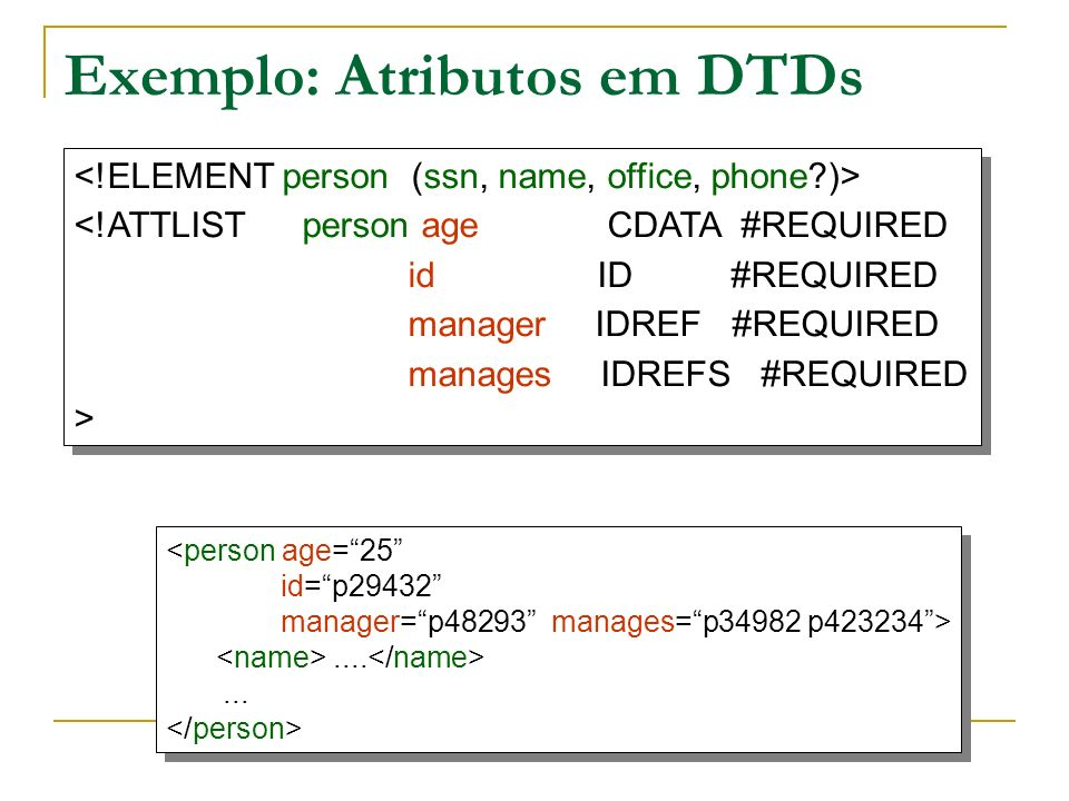 Exemplo: Atributos em DTDs <!ATTLIST person age CDATA #REQUIRED id ID #REQUIRED manager IDREF #REQUIRED manages IDREFS #REQUIRED > <!ATTLIST person ag