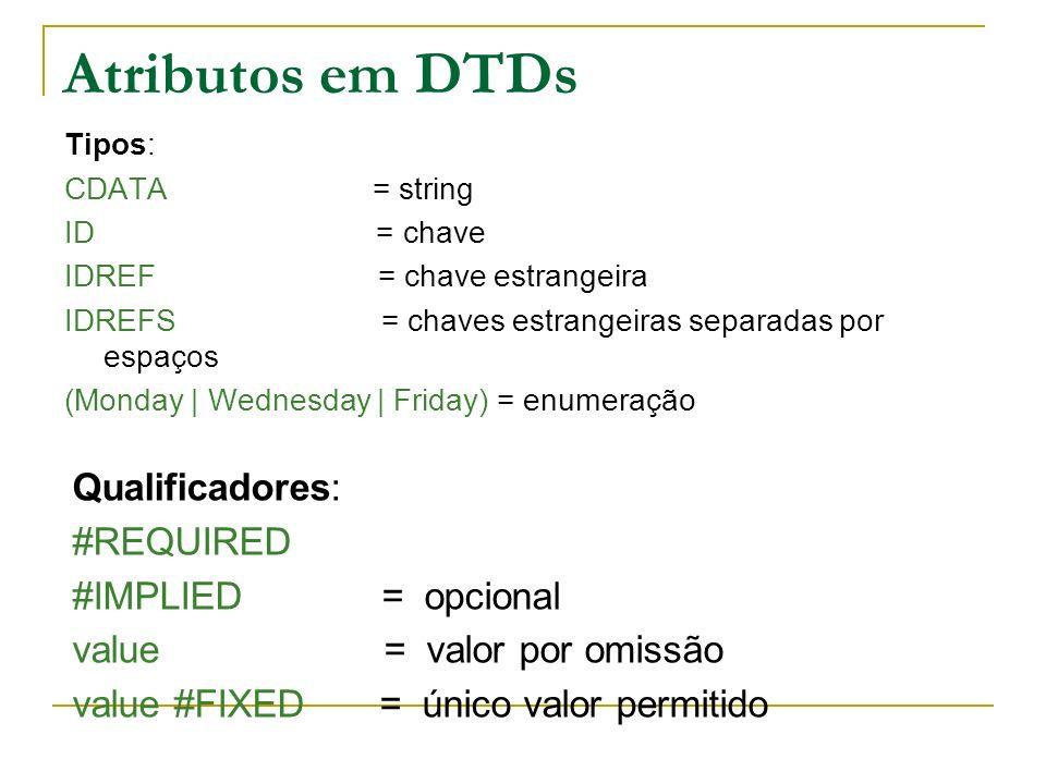 Atributos em DTDs Tipos: CDATA = string ID = chave IDREF = chave estrangeira IDREFS = chaves estrangeiras separadas por espaços (Monday | Wednesday | Friday) = enumeração Qualificadores: #REQUIRED #IMPLIED = opcional value = valor por omissão value #FIXED = único valor permitido