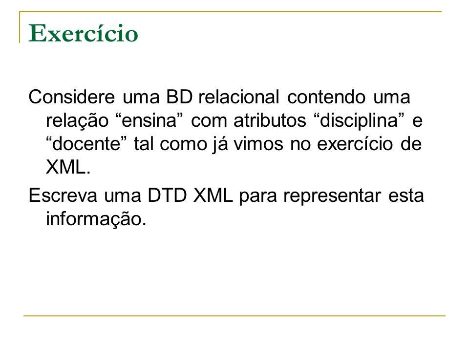 Exercício Considere uma BD relacional contendo uma relação ensina com atributos disciplina e docente tal como já vimos no exercício de XML. Escreva um