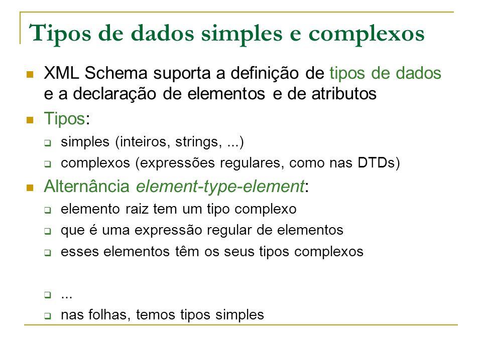 Tipos de dados simples e complexos XML Schema suporta a definição de tipos de dados e a declaração de elementos e de atributos Tipos: simples (inteiro