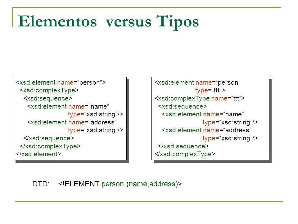 Elementos versus Tipos DTD:
