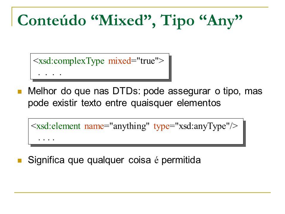 Conteúdo Mixed, Tipo Any Melhor do que nas DTDs: pode assegurar o tipo, mas pode existir texto entre quaisquer elementos Significa que qualquer coisa