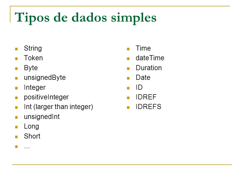 Tipos de dados simples String Token Byte unsignedByte Integer positiveInteger Int (larger than integer) unsignedInt Long Short... Time dateTime Durati