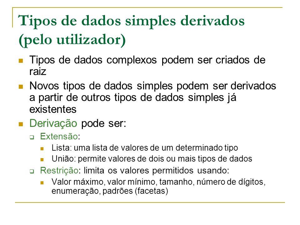 Tipos de dados simples derivados (pelo utilizador) Tipos de dados complexos podem ser criados de raiz Novos tipos de dados simples podem ser derivados