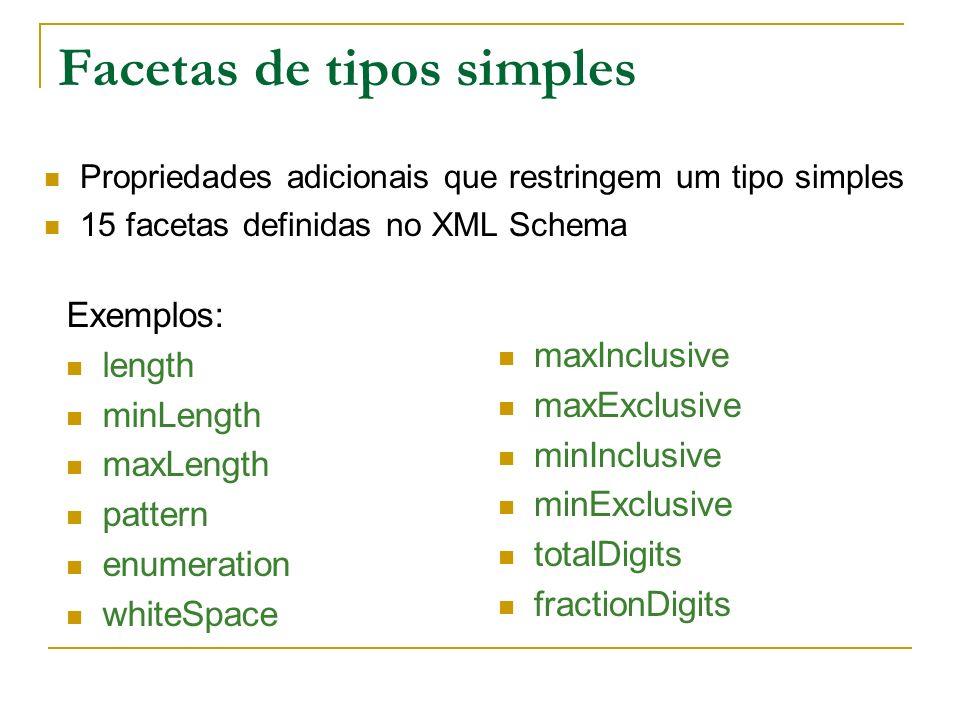Facetas de tipos simples Exemplos: length minLength maxLength pattern enumeration whiteSpace maxInclusive maxExclusive minInclusive minExclusive totalDigits fractionDigits Propriedades adicionais que restringem um tipo simples 15 facetas definidas no XML Schema