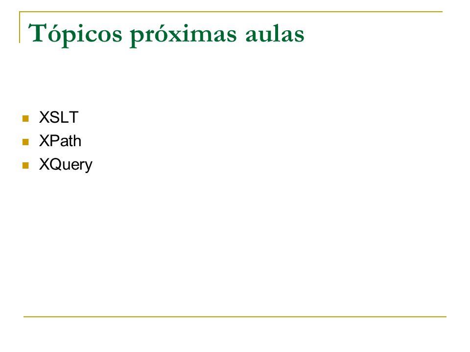 Tópicos próximas aulas XSLT XPath XQuery
