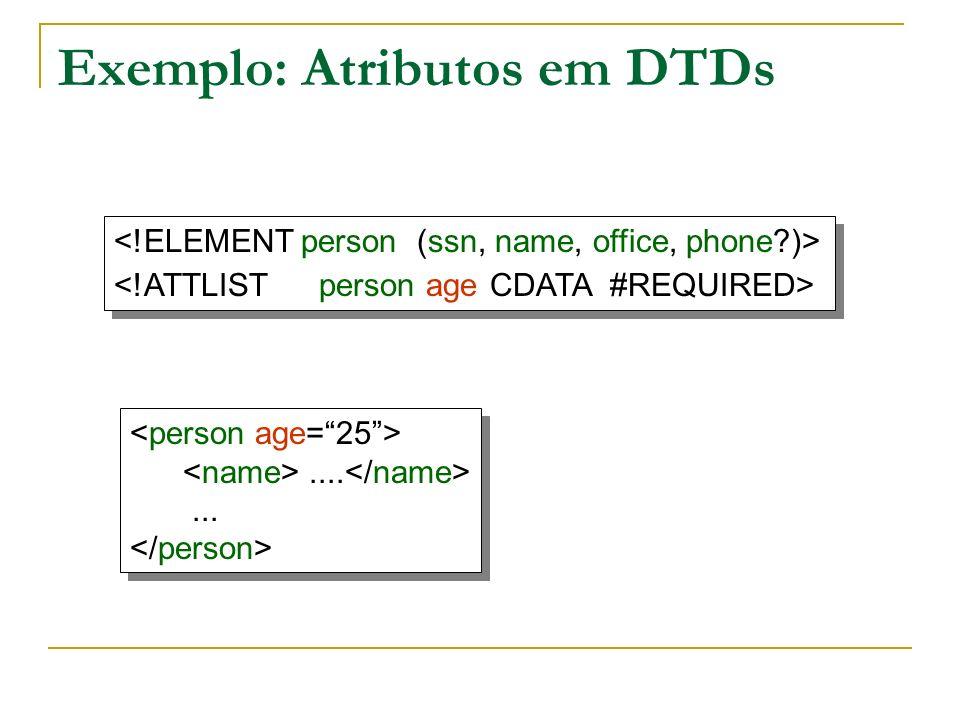 Exemplo: Atributos em DTDs..............