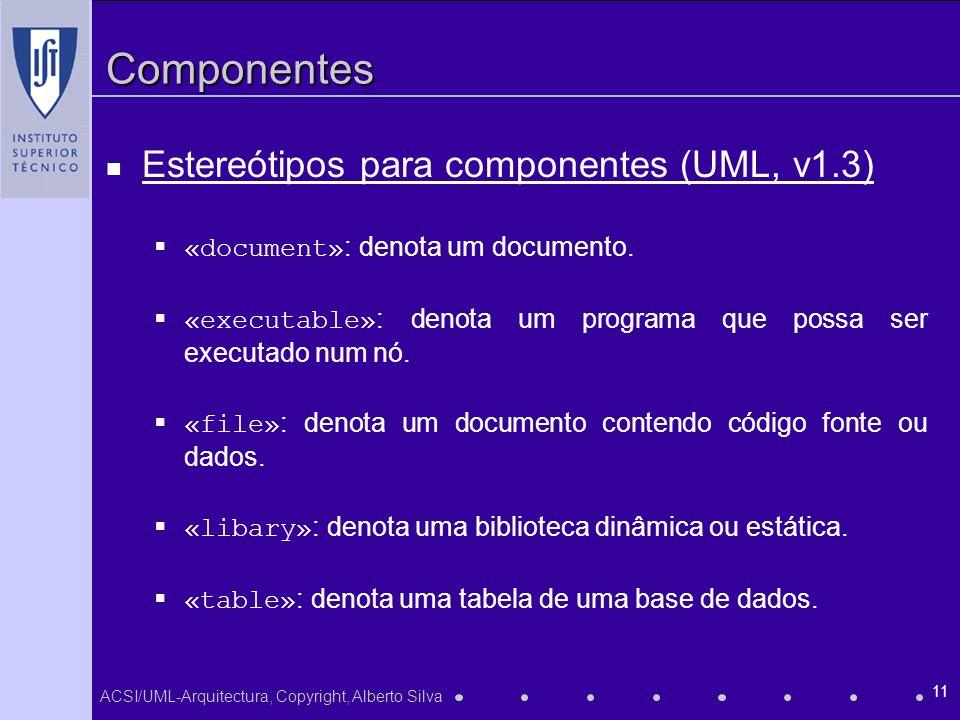 ACSI/UML-Arquitectura, Copyright, Alberto Silva 11 Componentes Estereótipos para componentes (UML, v1.3) «document» : denota um documento. «executable