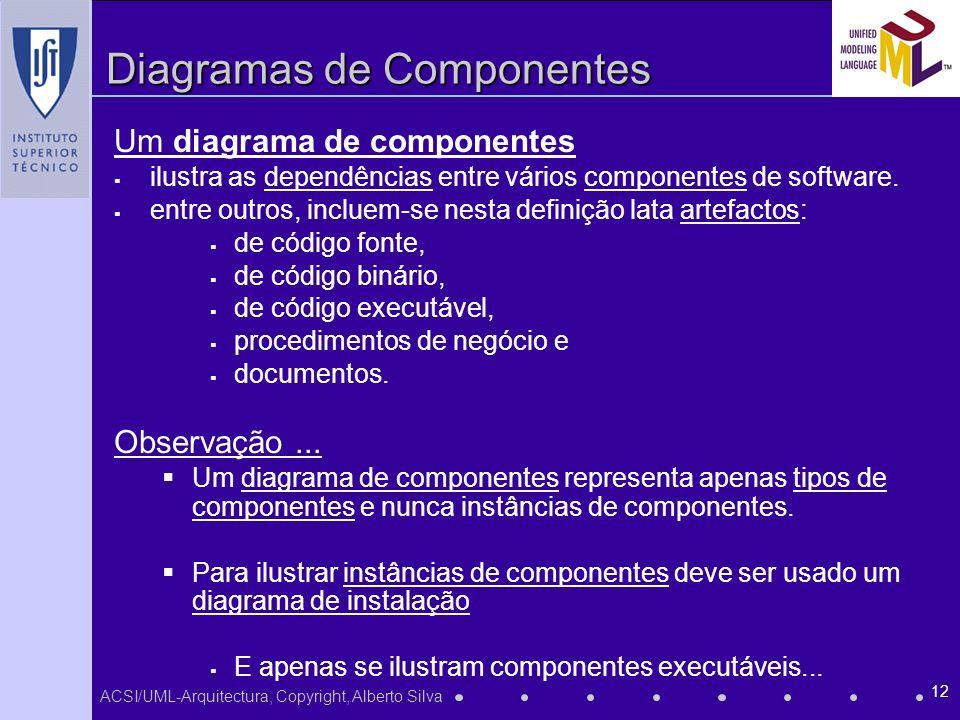 ACSI/UML-Arquitectura, Copyright, Alberto Silva 12 Diagramas de Componentes Um diagrama de componentes ilustra as dependências entre vários componente