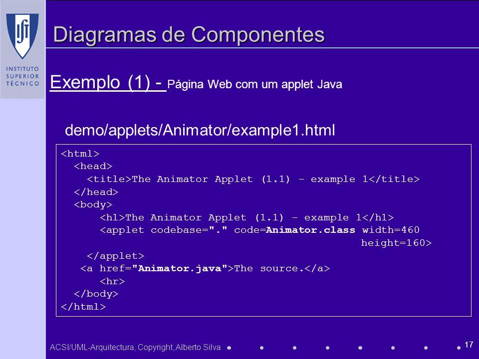 ACSI/UML-Arquitectura, Copyright, Alberto Silva 17 Diagramas de Componentes Exemplo (1) - Página Web com um applet Java The Animator Applet (1.1) - example 1 The Animator Applet (1.1) - example 1 <applet codebase= . code=Animator.class width=460 height=160> The source.