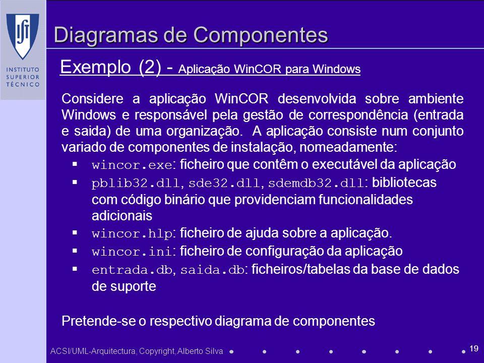 ACSI/UML-Arquitectura, Copyright, Alberto Silva 19 Diagramas de Componentes Exemplo (2) - Aplicação WinCOR para Windows Considere a aplicação WinCOR desenvolvida sobre ambiente Windows e responsável pela gestão de correspondência (entrada e saida) de uma organização.