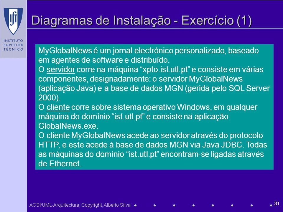 ACSI/UML-Arquitectura, Copyright, Alberto Silva 31 Diagramas de Instalação - Exercício (1) MyGlobalNews é um jornal electrónico personalizado, baseado em agentes de software e distribuído.