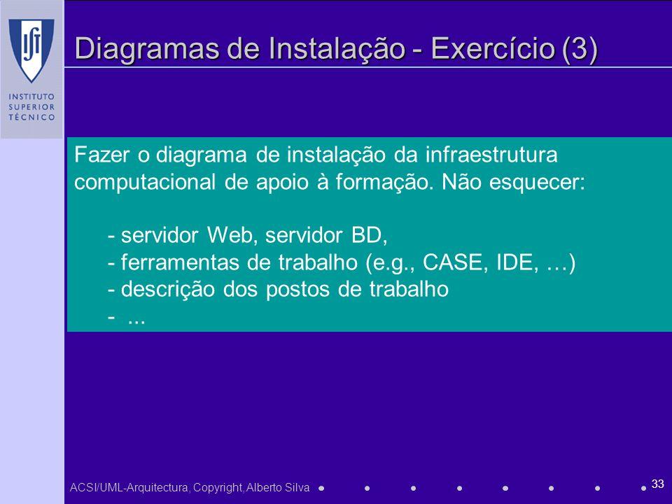 ACSI/UML-Arquitectura, Copyright, Alberto Silva 33 Diagramas de Instalação - Exercício (3) Fazer o diagrama de instalação da infraestrutura computacio
