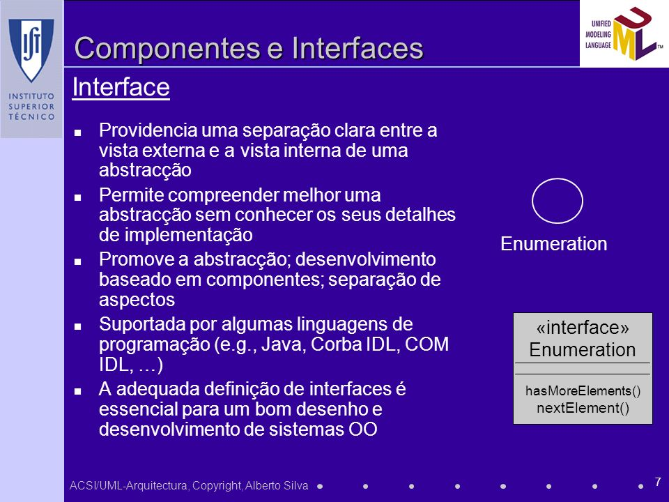 ACSI/UML-Arquitectura, Copyright, Alberto Silva 8 Componentes e Interfaces exemplo de interfaces de uma componente em Active-X...