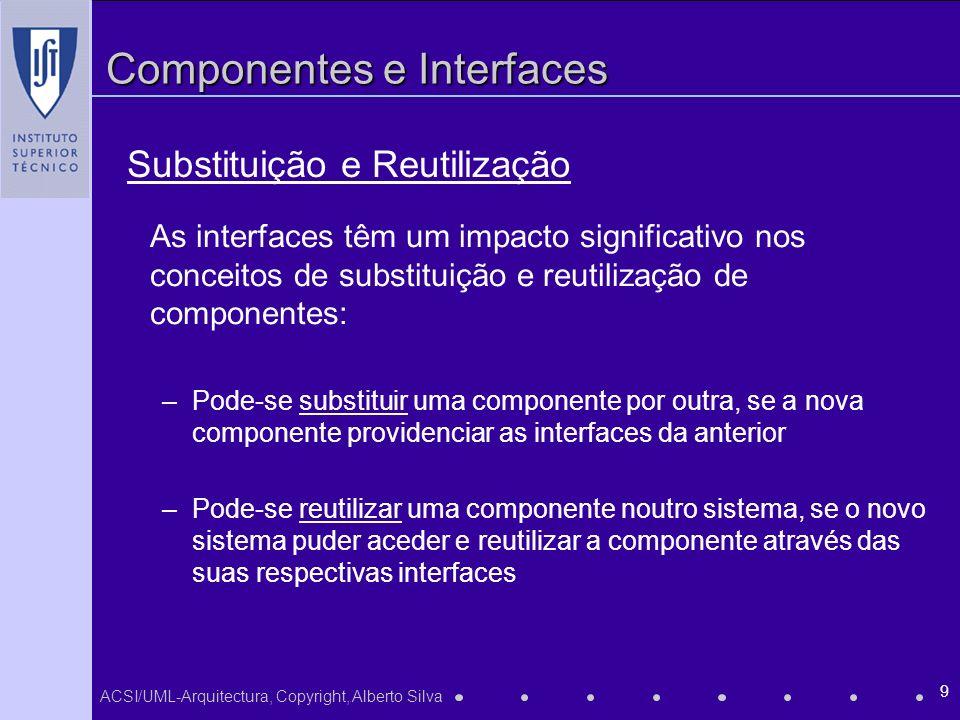 ACSI/UML-Arquitectura, Copyright, Alberto Silva 9 Componentes e Interfaces As interfaces têm um impacto significativo nos conceitos de substituição e reutilização de componentes: –Pode-se substituir uma componente por outra, se a nova componente providenciar as interfaces da anterior –Pode-se reutilizar uma componente noutro sistema, se o novo sistema puder aceder e reutilizar a componente através das suas respectivas interfaces Substituição e Reutilização