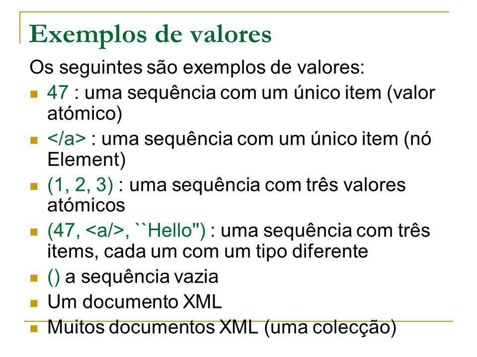 Exemplos de valores Os seguintes são exemplos de valores: 47 : uma sequência com um único item (valor atómico) : uma sequência com um único item (nó E
