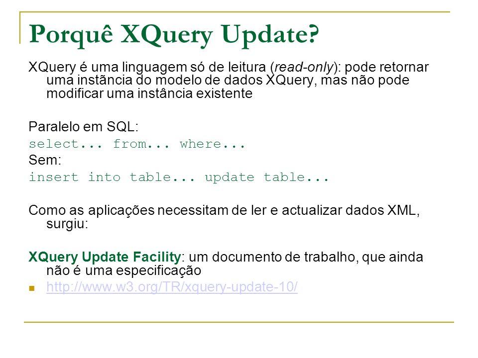 Porquê XQuery Update? XQuery é uma linguagem só de leitura (read-only): pode retornar uma instãncia do modelo de dados XQuery, mas não pode modificar