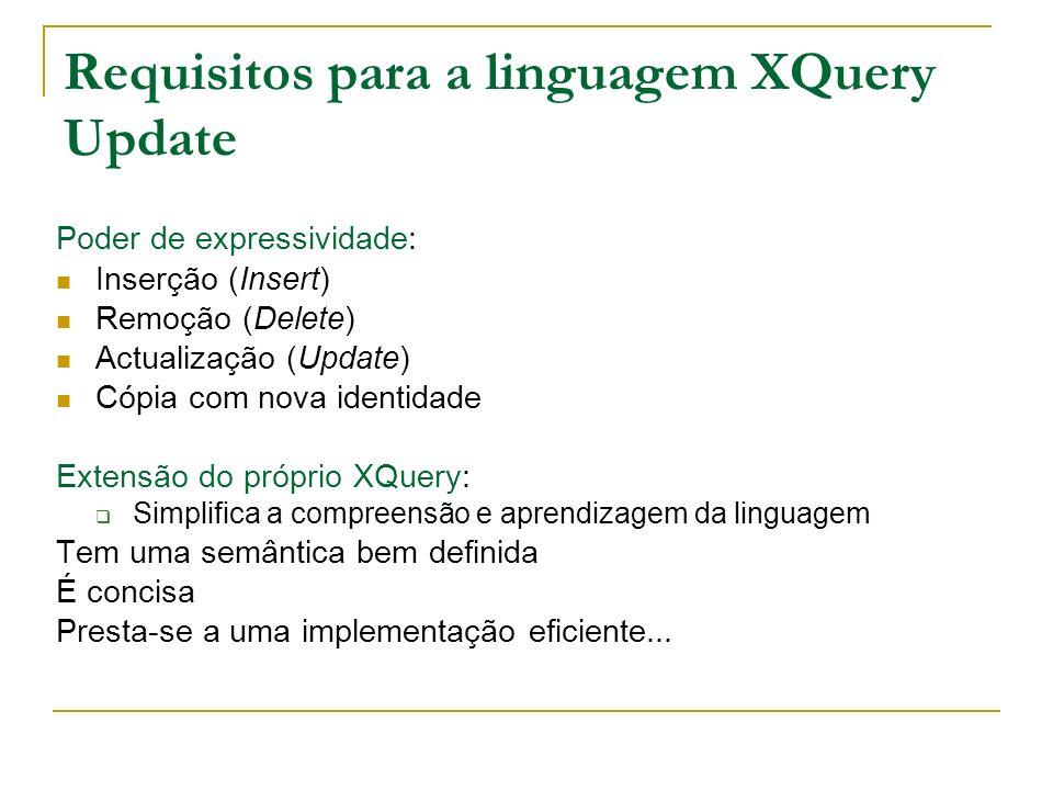 Requisitos para a linguagem XQuery Update Poder de expressividade: Inserção (Insert) Remoção (Delete) Actualização (Update) Cópia com nova identidade