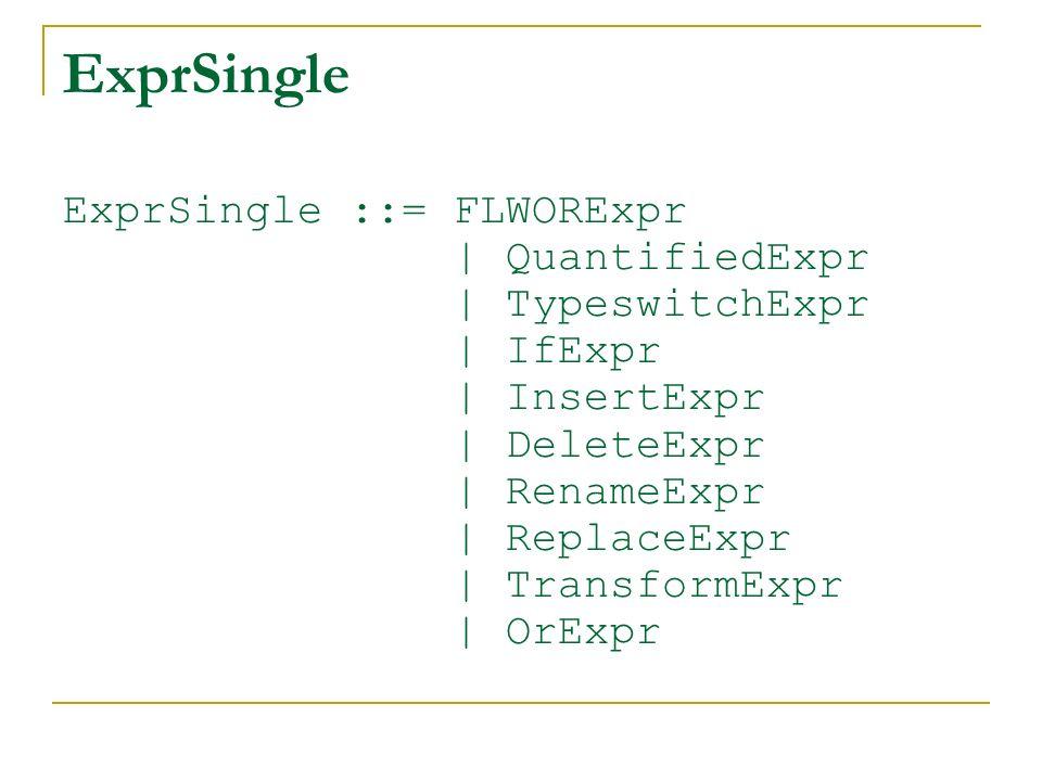 ExprSingle ExprSingle ::= FLWORExpr | QuantifiedExpr | TypeswitchExpr | IfExpr | InsertExpr | DeleteExpr | RenameExpr | ReplaceExpr | TransformExpr |